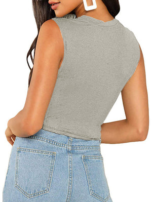 Solid Sleeveless Crop Tank Top In Grey - Mint Limit