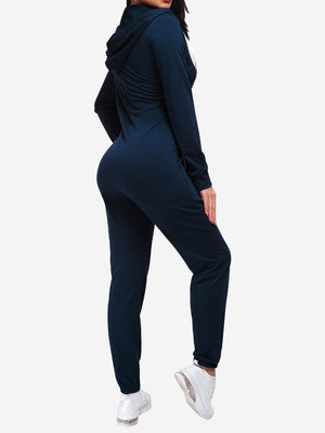 Zipper Hoodie Jogging Jumpsuits In Dark Blue