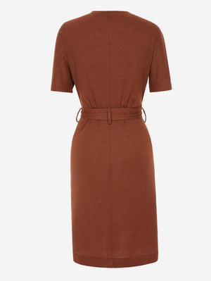 Half Sleeve Button-Down Midi Dress In Brown - Mint Limit