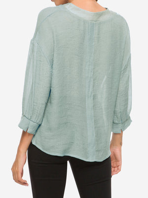 V-Neck Billowy Sleeves Blouse In Grey