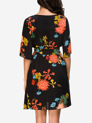 Button Fornt Floral Mini Dress - Mint Limit