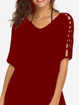 Hollow Sleeve Tunic Mini Dress In Wine Red - Mint Limit