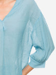 V-Neck Billowy Sleeves Blouse In Blue - Mint Limit