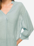 V-Neck Billowy Sleeves Blouse In Grey - Mint Limit