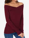 Slim Fit Off Shoulder Tops Shirt In Red - Mint Limit