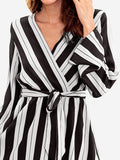 Stripe Print Belted T Shirt Dress In Black - Mint Limit
