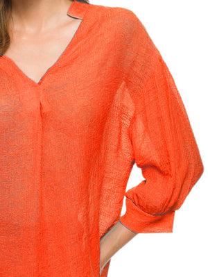 V-Neck Billowy Sleeves Blouse In Orange