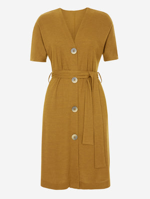 Half Sleeve Button-Down Midi Dress In Yellow - Mint Limit