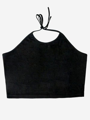 Halter Crop Camisole Tank Tops In Black - Mint Limit