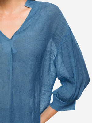 V-Neck Billowy Sleeves Blouse In Dark Blue