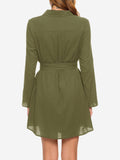 V Neck Turn Collar Shirt Dress In Green - Mint Limit