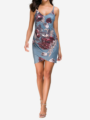 Cami Ruched Floral Mini Dress In Grey - Mint Limit