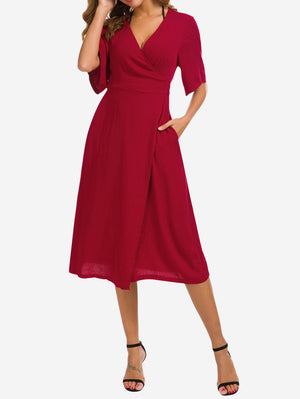 Wrap Midi Dress with Pockets In Red