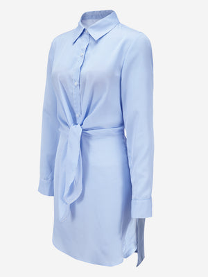 Stripe Shirt Dress With Tie Front - Mint Limit