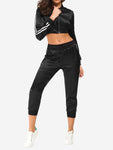 Side Stripe Sports Outfits In Black - Mint Limit