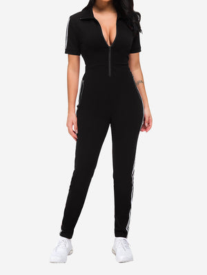Lapel Collar Zipper Jumpsuit In Black - Mint Limit