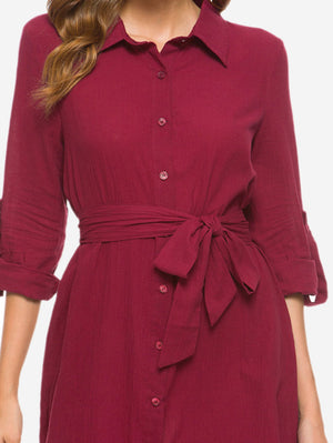 V Neck Turn Collar Shirt Dress In Red