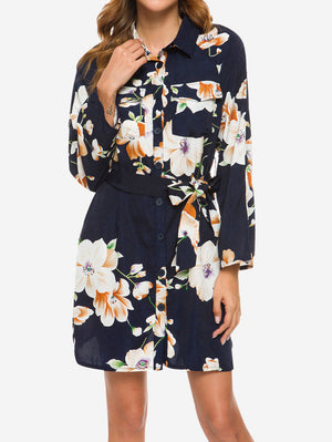 Floral Turn Down Collar Shirt Dress In Blue - Mint Limit
