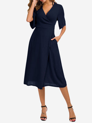 Wrap Midi Dress with Pockets In Blue