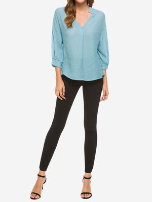 V-Neck Billowy Sleeves Blouse In Blue