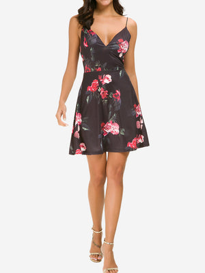 Floral Cami V-Neck Mini Dress - Mint Limit
