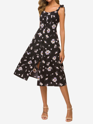 Tie Shoulder Floral Button Midi Dress - Mint Limit