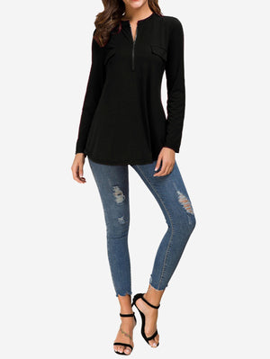 Zip Front V-Neck Tunic Tops In Black