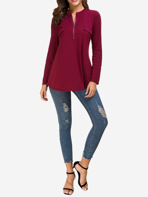 Zip Front V-Neck Tunic Tops In Red - Mint Limit