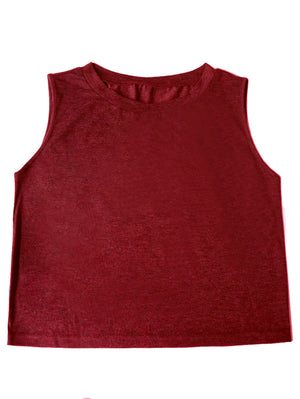 Solid Sleeveless Crop Tank Top In WineRed - Mint Limit