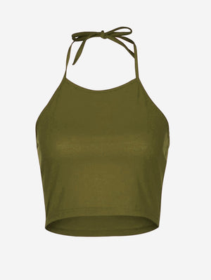 Halter Crop Camisole Tank Tops In Green - Mint Limit
