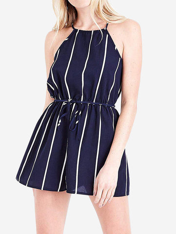 Halter Neck Striped Short Romper In Blue - Mint Limit