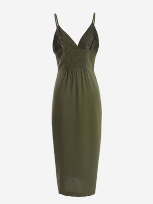 Button-Down Midi Dress In Khaki - Mint Limit