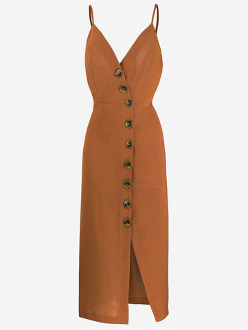 Button-Down Midi Dress In Coffee - Mint Limit