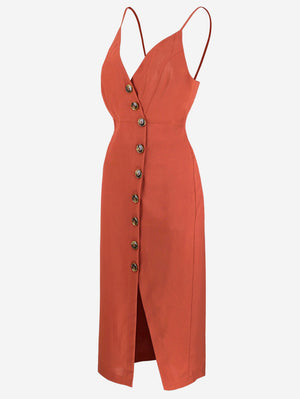 Button-Down Midi Dress In Firebrick - Mint Limit
