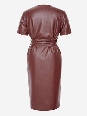 Faux Leather Button-Front Midi Dress In Brown - Mint Limit
