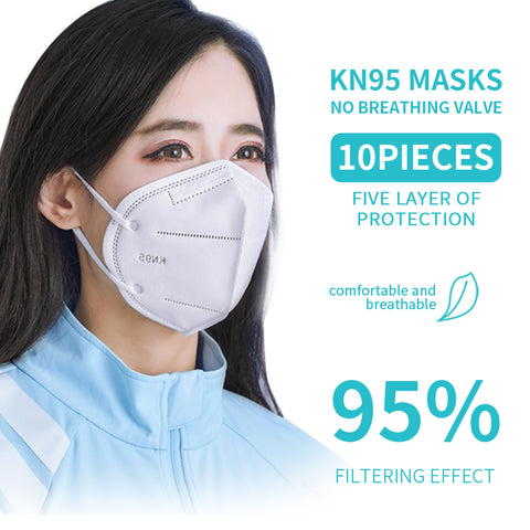 10PCS KN95 Mask Medical Reusable Mask with 5-Layer Dust Removal Filter - Mint Limit