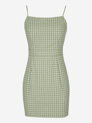 Plaid Cami Mini Dress - Mint Limit
