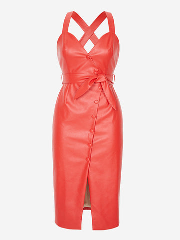 Faux Leather Button-Down Midi Dress In Red - Mint Limit