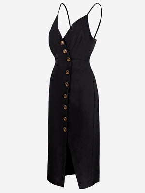 Button-Down Midi Dress In Black - Mint Limit