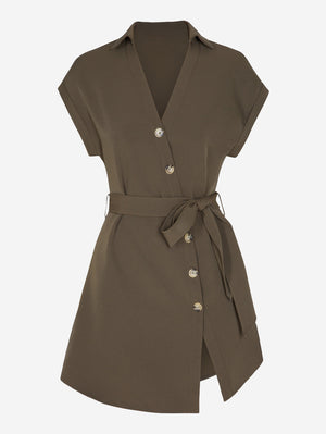 Button Through Mini Dress With Belt - Mint Limit