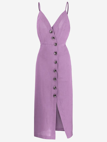 Button-Down Midi Dress In Plum - Mint Limit