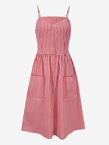 Gingham Cami Pocket Skater Dress - Mint Limit
