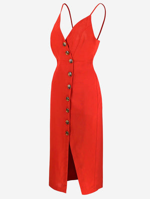 Button-Down Midi Dress In Red - Mint Limit