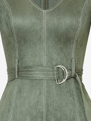 Faux Suede Mini Dress With Belt - Mint Limit