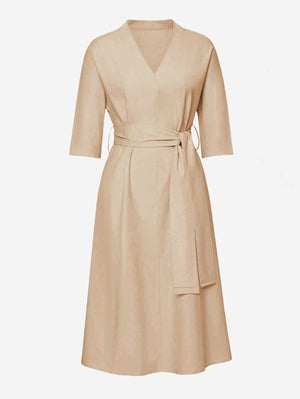 3/4 Sleeve Midi Dress With Belt - Mint Limit