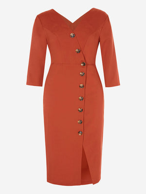3/4 Sleeve Button-Down Midi Dress In Firebrick - Mint Limit