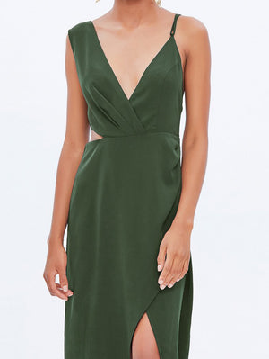 Cami Midi Dress In Green - Mint Limit