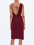 Cami Midi Dress In Wine Red - Mint Limit