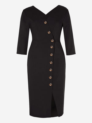 3/4 Sleeve Button-Down Midi Dress In Black - Mint Limit