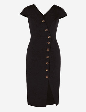 Short Sleeve Button-Down Midi Dress In Black - Mint Limit
